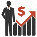 businessman, dollar, presentation, profit icon