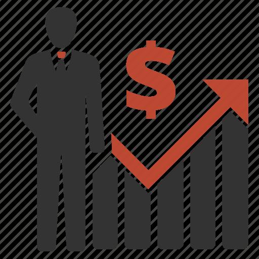 businessman, dollar, presentation, profit icon