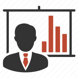 analytics, man, presentation, statistics icon