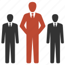 businessmen, group, office, resources, trio icon