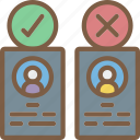 cadidate, decisions, hr, human, resources icon