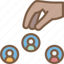 choosing, hr, human, resources, staff icon