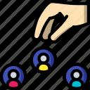choosing, hr, human, resources, staff icon