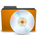 cd, folder, orange icon