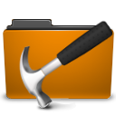 development, folder, orange icon