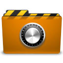 folder, locked, orange, security icon