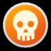 danger, emblem, skull icon