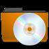 cd, folder, orange icon