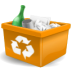 garbage, new, orange, recycle bin, trashcan icon
