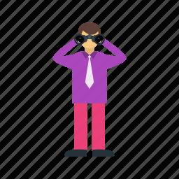 binocular, binoculars, close, man, sky, telescope icon