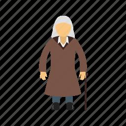 elderly, female, old, person, portrait, senior, woman icon