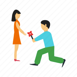 couple, love, man, marriage, proposal, ring, woman icon