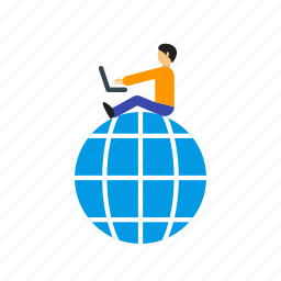 business, computer, laptop, online, people, work icon