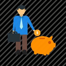banking, coin, dollar, guardar, money, piggy bank, save, saving icon