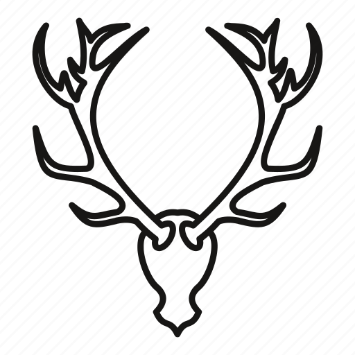 animal, antler, deer, head, horn, outline, stag icon