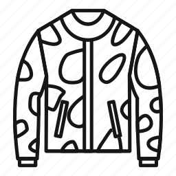 camouflage, fabric, hunting, jacket, men, military, outline icon