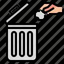 bin, hand, trash icon
