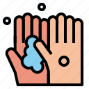 hand, soap, two, wash icon