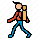 backpacking, man, traveler icon