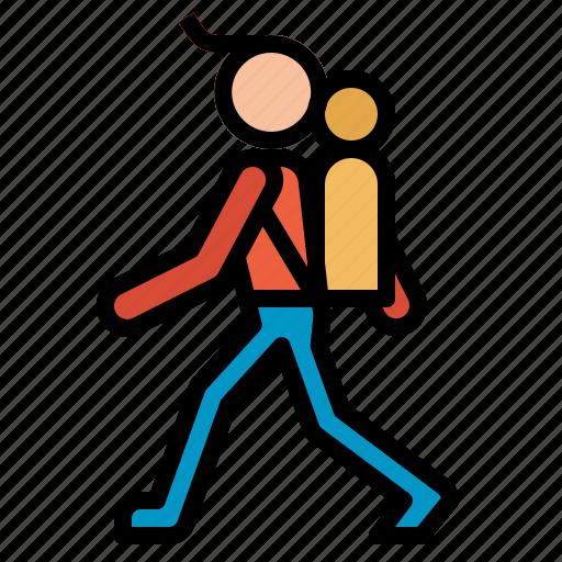 backpacking, man, traveler icon