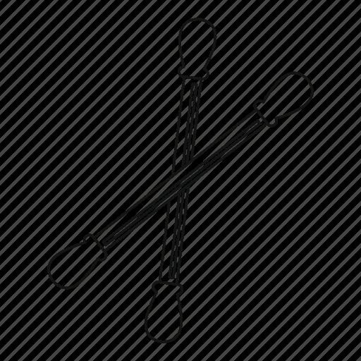 bud, cotton, line, outline, stick, swab, thin icon