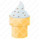 dessert, gelato, ice cream, vanilla cone, vanilla ice cream icon