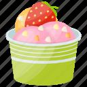 ice cream, ice cream cup, mix flavour ice cream, tutti frutti, tutti-frutti ice cream icon