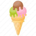 green tea ice cream, ice cream cone, multi flavor ice cream, strawberry chocolate ice cream, waffle icon