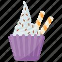 cookie and cream, cookies and cream ice cream, gelato, ice cream, sundae icon