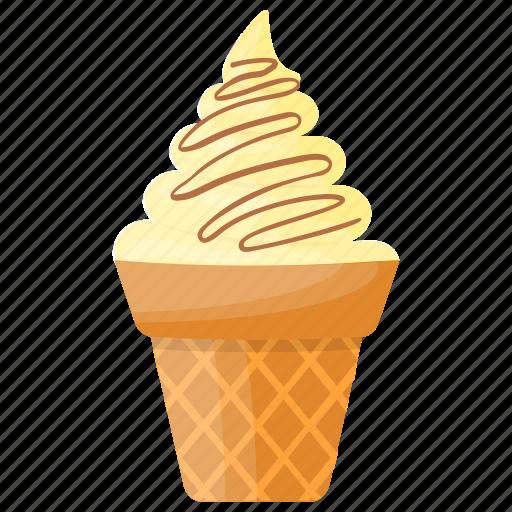 caramel cone, caramel gelato, caramel waffle, ice cream, waffle icon