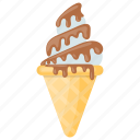 blue color ice cream, blue moon ice cream, choco cone, chocolate topping ice-cream, ice cream cone icon