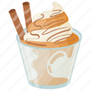 caramel ice-cream, peanut butter dessert, peanut butter ice-cream, peanut butter sundae, sundae icon
