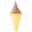 chocolate cone, chocolate ice cream, gelato, ice cream, waffle icon