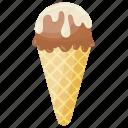 choco-vanilla cone, chocolate cone, ice cream cone, vanilla flavour cone, waffle icon