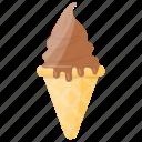 chocolate cone, chocolate ice cream, gelato, ice cream, waffle icon