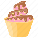 ice cream cup, strawberry gelato, strawberry ice-cream, strawberry sundae, waffle icon