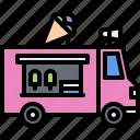 car, cream, dessert, ice, megaphone, shop, truck icon