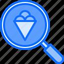 cone, cream, dessert, ice, magnifier, search, shop