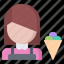 cone, cream, dessert, ice, seller, shop, woman