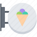 cone, cream, dessert, ice, shop, sign, signboard