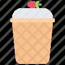 cream, cup, dessert, ice, shop, waffle