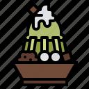 bingsu, dessert, ice cream, matcha icon