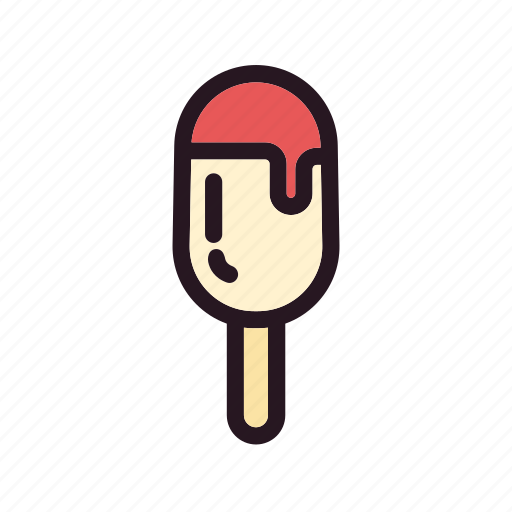 bite, color, cream, filled, ice, mixed, stick icon