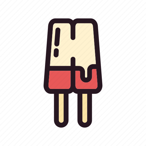 color, cream, double, filled, ice, mixed, stick icon