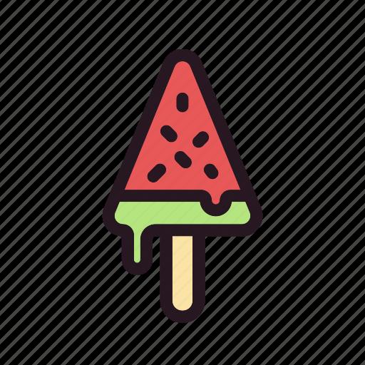 color, cream, filled, fruit, ice, stick, watermelon icon