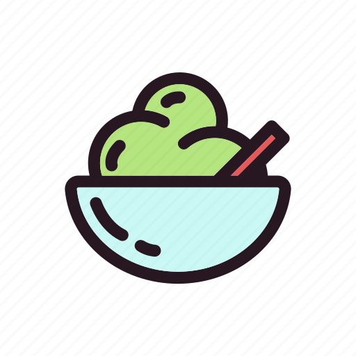 bowl, color, cream, filled, green, ice icon