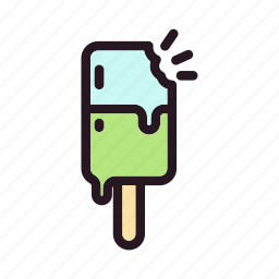 bite, color, cream, cube, filled, ice, stick icon