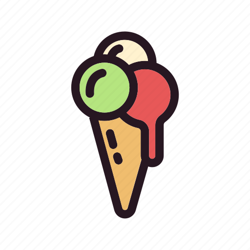 color, cone, cream, filled, ice, skup icon