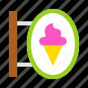 ice cream, shop, sign, sweets icon