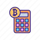 ico, banking, calculator, bitcoin, commerce, concept, counting icon